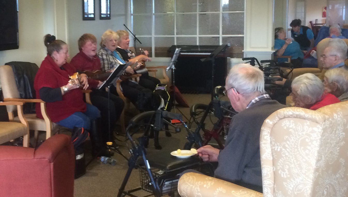 Phillip and his Ukulele, Heritage Manor Aged Care, July 18 2014