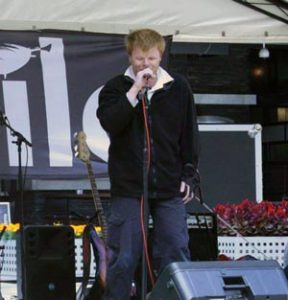 Phillip Chalker, performing in the Melbourne City Square