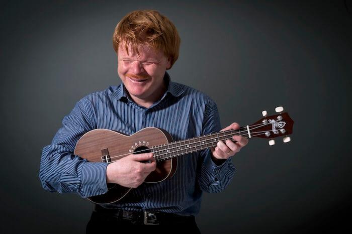 Phillip with ukulele in studio